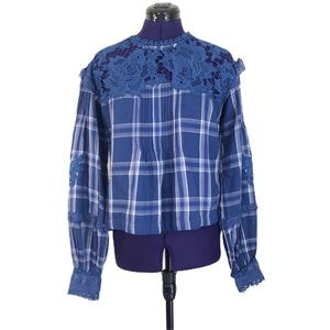 Free People Blue Plaid Lace Long Sleeve Top